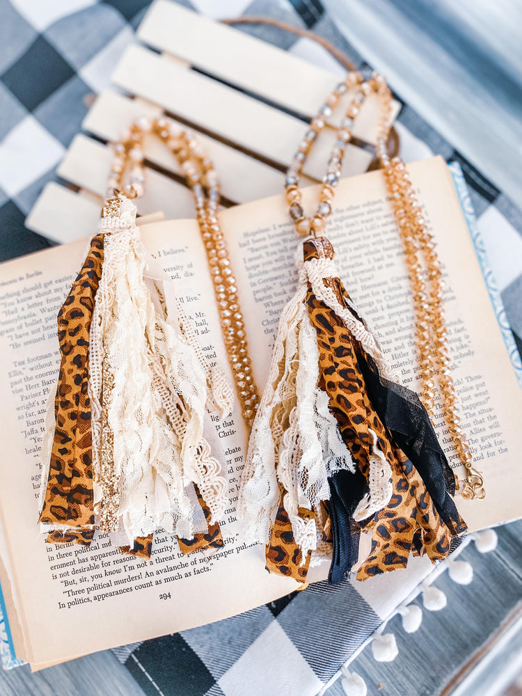 """Feisty with Fabric"" Cloth Tassel and Bead Necklace"