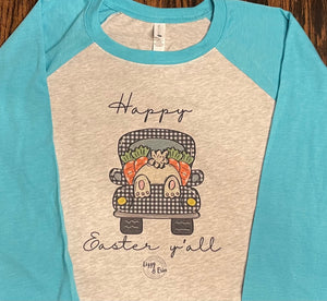 """Happy Easter Y'all"" Raglan (Teal Sleeve)"