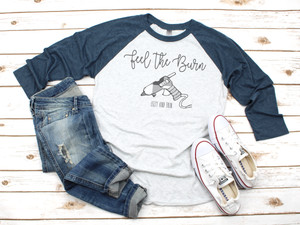 """Feel the Burn"" RAGLAN (Blue Sleeve)"