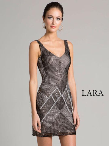 low V-neckline cocktail dress