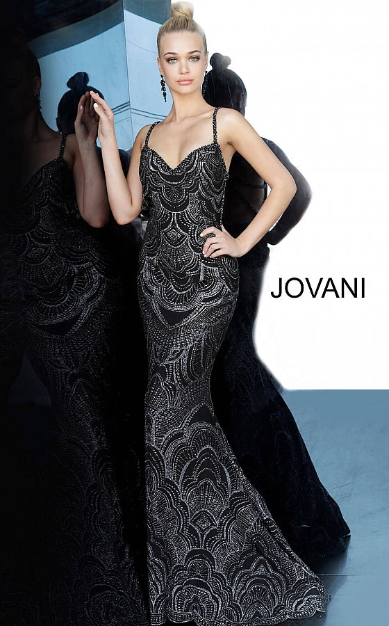 Black Silver Sweetheart Neckline Fitted Prom Jovani Dress 00501 - Elbisny