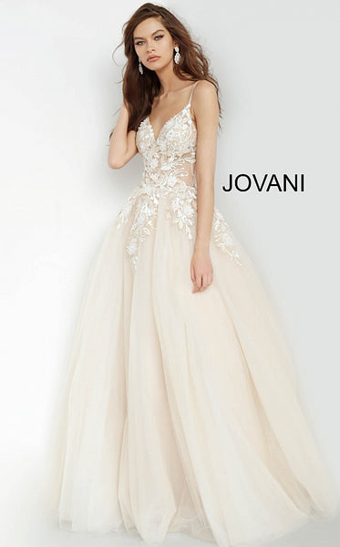 Nude Plunging Neckline Flower Appliques Prom Jovani Gown 02758 - Elbisny