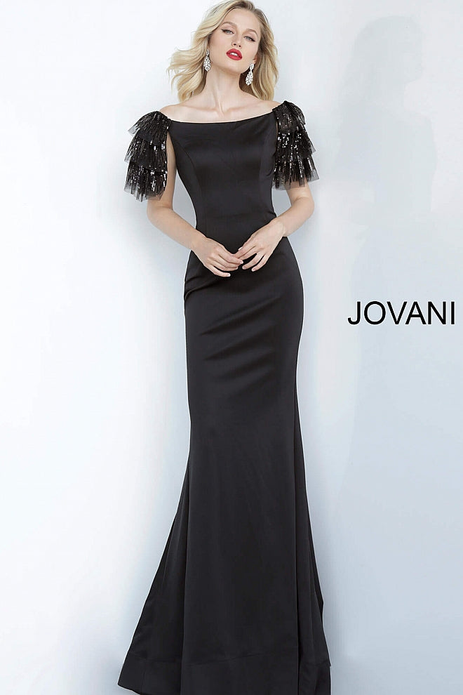 Black Off the Shoulder Fitted Jovani Evening Jovani Dress 1089 - Elbisny