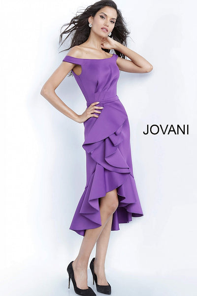 Purple Ruffle Skirt Off the Shoulder Cocktail Jovani Dress 1469 - Elbisny