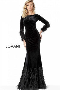 Black Long Sleeves Sheath Velvet Evening Jovani Dress 1085 - Elbisny