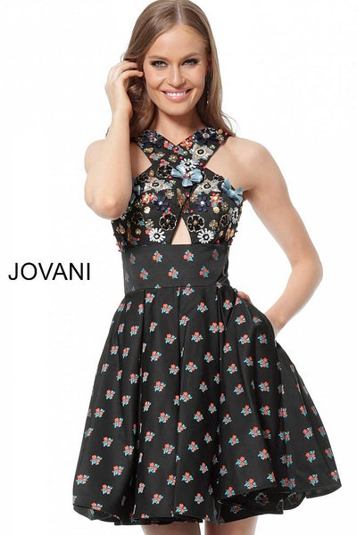 Black Multi Criss Cross Neckline Cocktail Jovani Dress 57057 - Elbisny