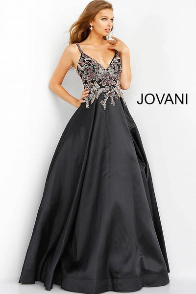 Black Multi Embellished Bodice V Neck Evening Jovani Ballgown 62140 - Elbisny