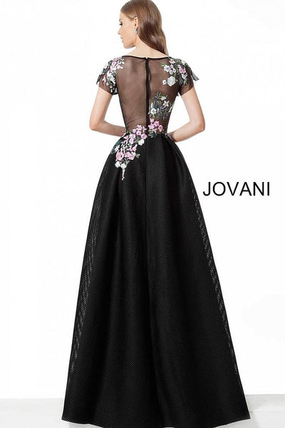 Black Multi Floral Bodice Short Sleeve Evening Jovani Dress 66418 - Elbisny