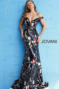 Black Multi Off the Shoulder Floral Evening Jovani Dress 60984 - Elbisny