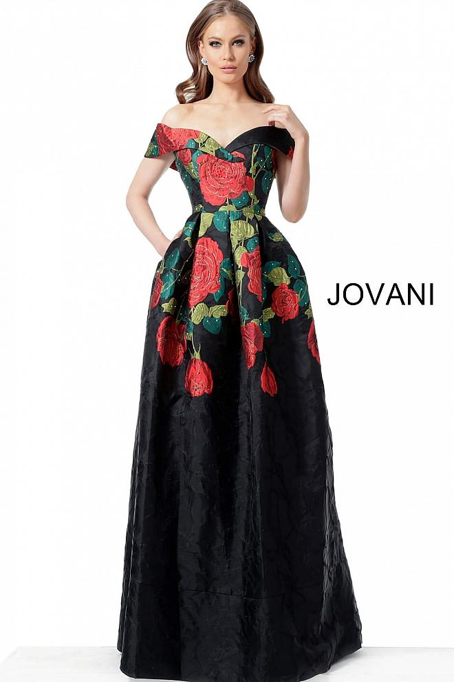 Black Multi Sweetheart Neck Off the Shoulder Evening Jovani Gown 64271 - Elbisny