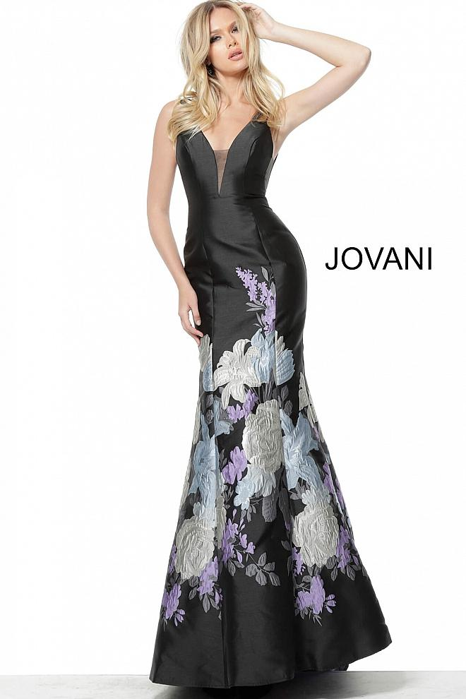 Black Print Plunging Neckline Mermaid Evening Jovani Dress 64289 - Elbisny
