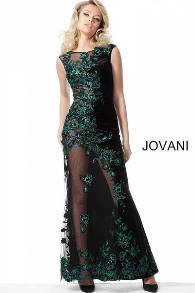 Black Teal Embroidered Cap Sleeves Couture Jovani Dress 63645 - Elbisny