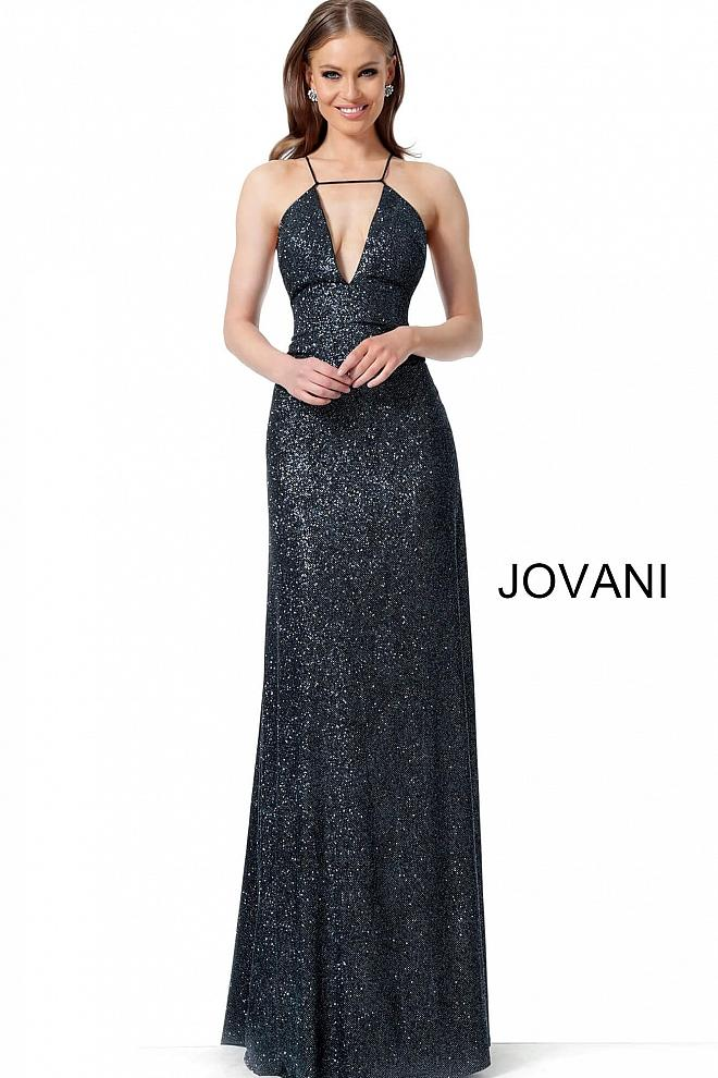 Black V Neck Criss Cross Back Prom Jovani Dress 1551 - Elbisny
