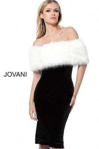 Black White Fur Cape Velvet Cocktail Jovani Dress 63883 - Elbisny