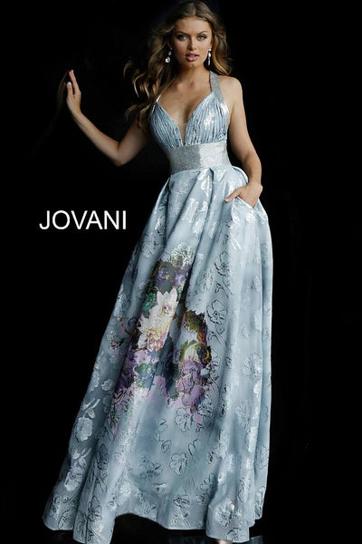 Blue Multi Embellished Belt Plunging Neck Evening Jovani Dress 61396 - Elbisny