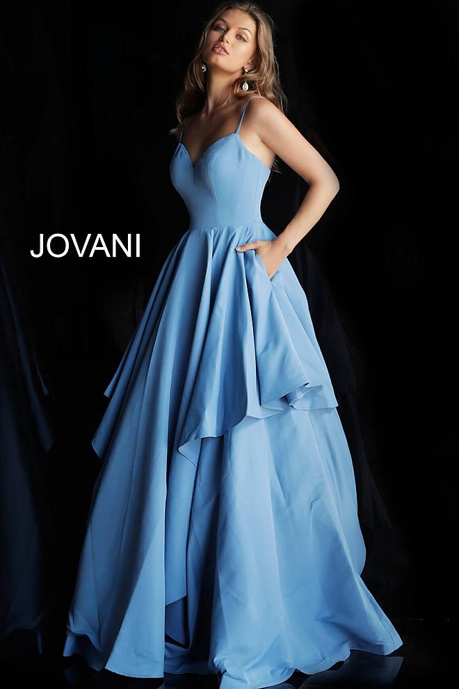 Blue Spaghetti Straps V Neck Evening Jovani Gown 58320 - Elbisny