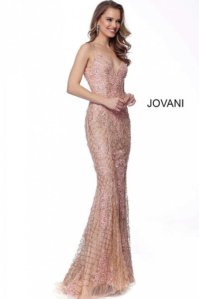 Blush Embellished V Neck Fitted Evening Jovani Dress 59056 - Elbisny