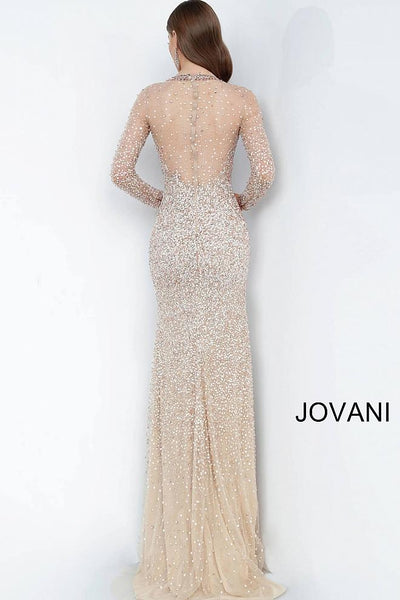 Blush Gold Long Sleeve Beaded Evening Jovani Dress 59756 - Elbisny