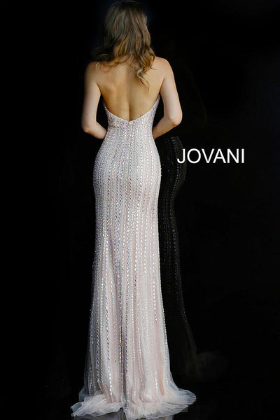 Blush High Neck Backless Beaded Evening Jovani Dress 60302 - Elbisny