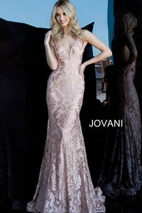 Blush Lace Plunging Neckline Evening Jovani Dress 68445 - Elbisny