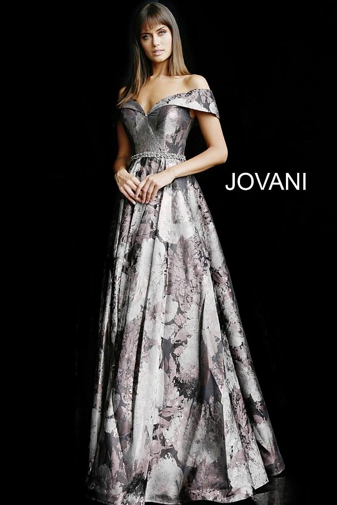 Brown Print Off the Shoulder A Line Evening Jovani Gown 62042 - Elbisny