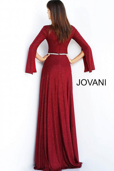 Burgundy Long Sleeve Embellished Belt Evening Jovani Gown 63124 - Elbisny