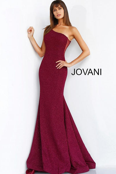 Burgundy One Shoulder Fitted Glitter Evening Jovani Dress 57936 - Elbisny