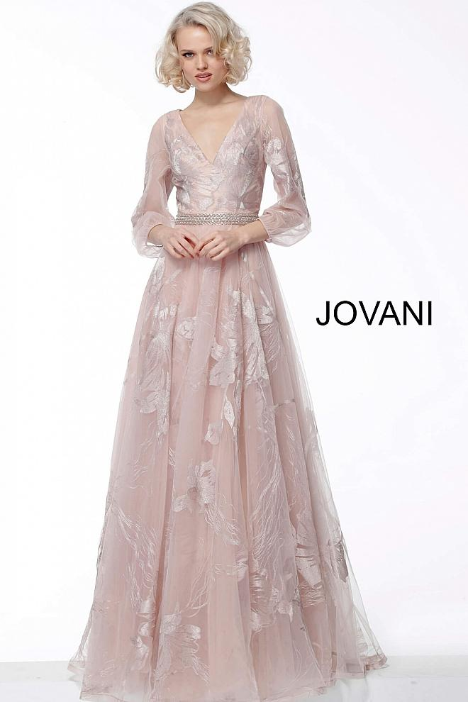 Champagne Long Sleeve V Neck Evening Jovani Dress 68056 - Elbisny
