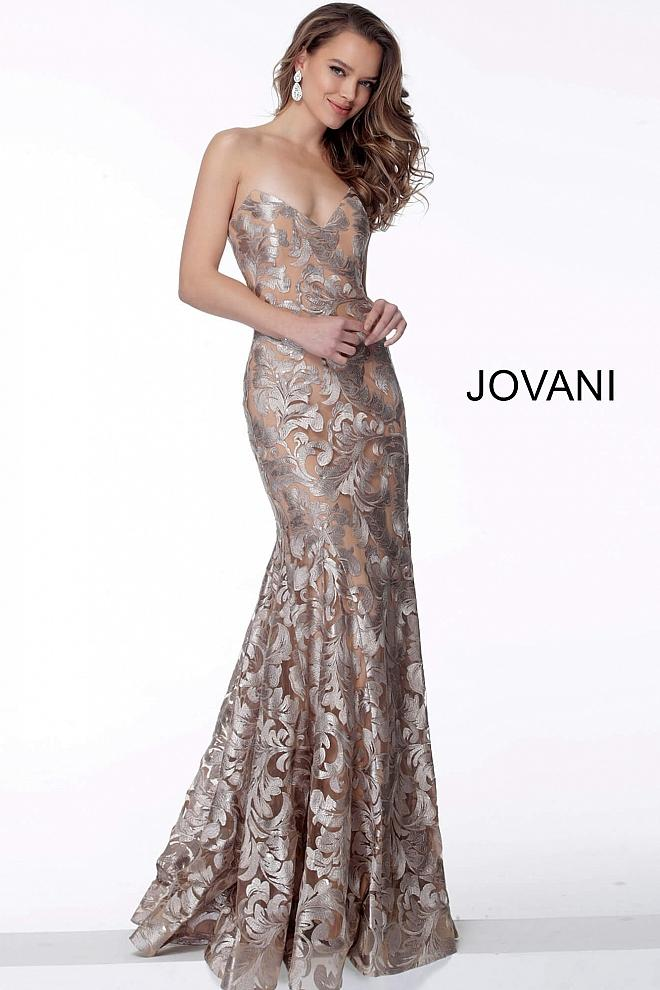 Champagne Strapless Form Fitting Evening Jovani Dress 63491 - Elbisny