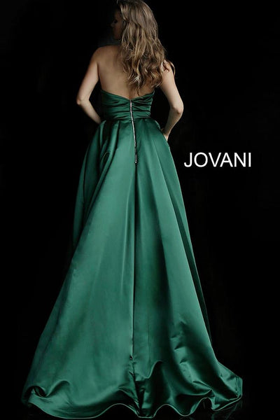 Dark Green Strapless Pleated Bodice Evening Jovani Ballgown 48861 - Elbisny