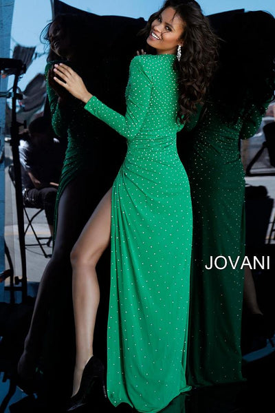 Emerald Beaded Plunging Neckline Jersey Prom Jovani Dress 3058 - Elbisny