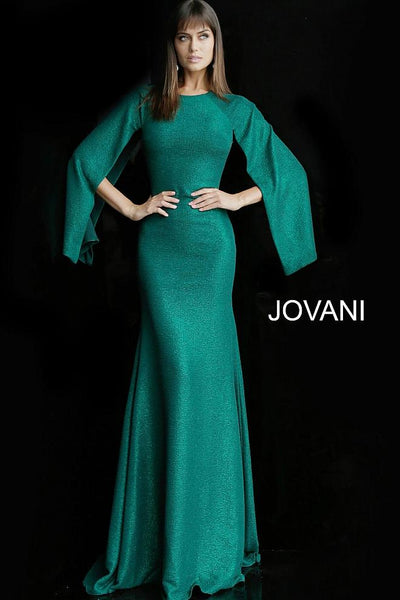 Emerald Glitter Crew Neckline Evening Jovani Dress 63148 - Elbisny