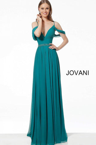 Emerald V Neck Pleated Bodice Chiffon Evening Jovani Dress 66337 - Elbisny