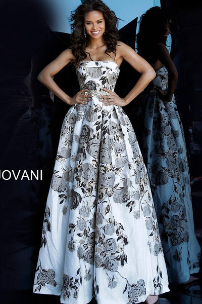 Floral Print Strapless Embellished Belt Evening Jovani Gown 68468 - Elbisny