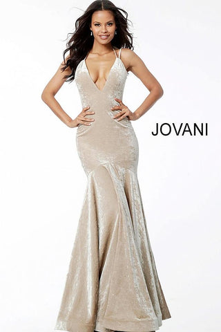 Gold Crushed Velvet Backless Plunging Neck Evening Jovani Dress 60234
