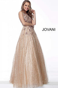 Gold Embellished Sleeveless Evening Jovani Ballgown 67540 - Elbisny