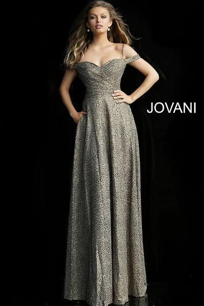 Gold Off the Shoulder A Line Evening Jovani Dress 60940 - Elbisny