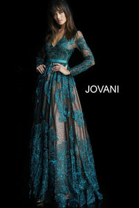 Green Black Embellished Belt Long Sleeve Evening Jovani Dress 62027 - Elbisny