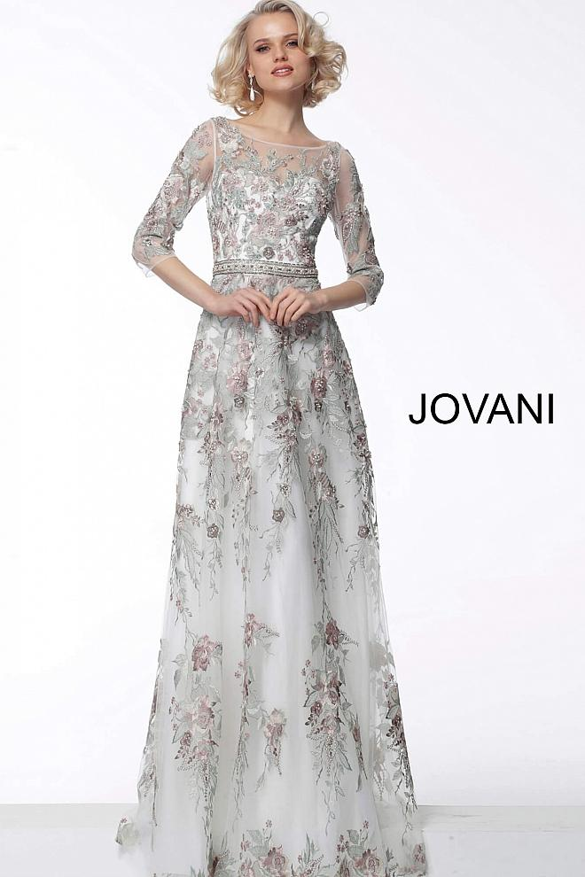 Green White Floral Embroidered Boat Neck Evening Jovani Dress 66871