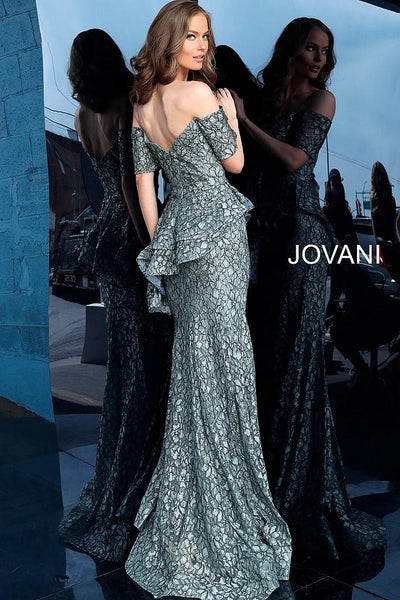 Grey Off the Shoulder Peplum Evening Jovani Dress 61522 - Elbisny