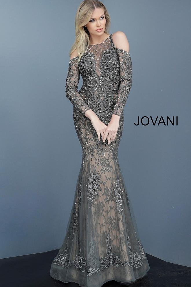 Gunmetal Embellished Cold-Shoulder Evening Jovani Dress 55801 - Elbisny