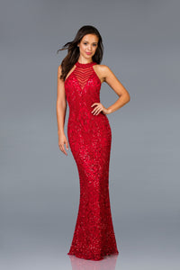 High Neckline Fitted Scala Dress 48690 - Elbisny