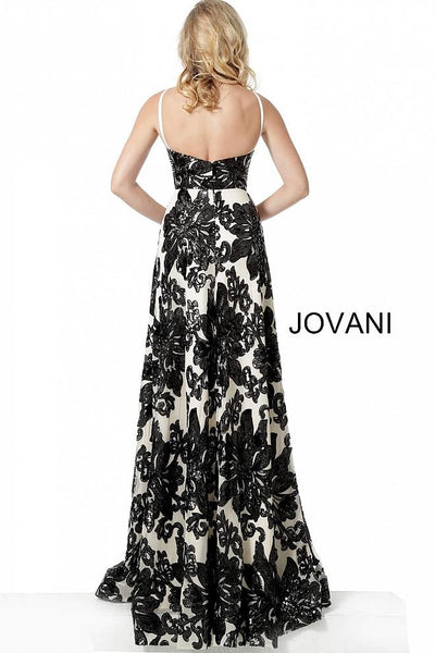 Ivory Black Spaghetti Straps Maxi Evening Jovani Dress 63362 - Elbisny