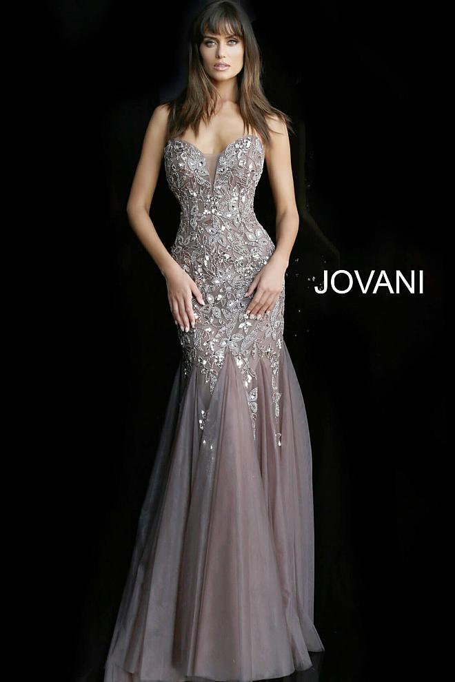 Mink Plunging Neckline Embellished Evening Jovani Dress 62587 - Elbisny