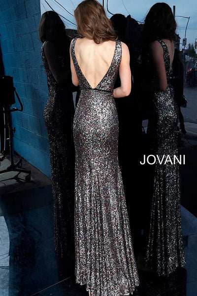 Multi Sequin Plunging Neckline Evening Jovani Dress 1751 - Elbisny