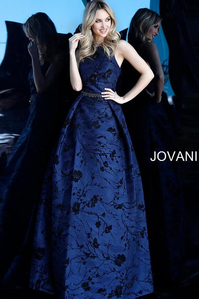Navy Floral Embroidered Sleeveless Evening Jovani Gown 66103 - Elbisny