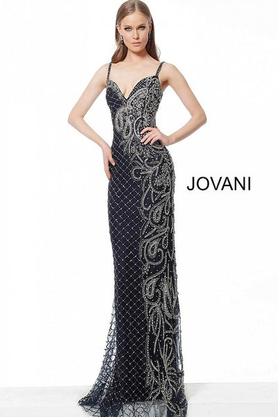 Navy Gunmetal Embellished Form Fitting Evening Jovani Dress 54694