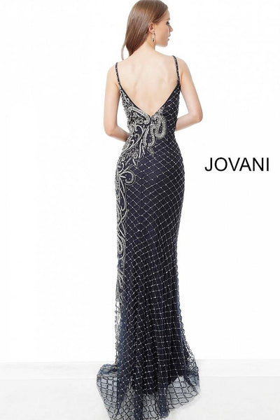 Navy Gunmetal Embellished Form Fitting Evening Jovani Dress 54694 - Elbisny