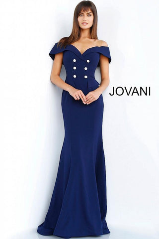 Navy Off the Shoulder Button Embellished Evening Jovani Dress 62047