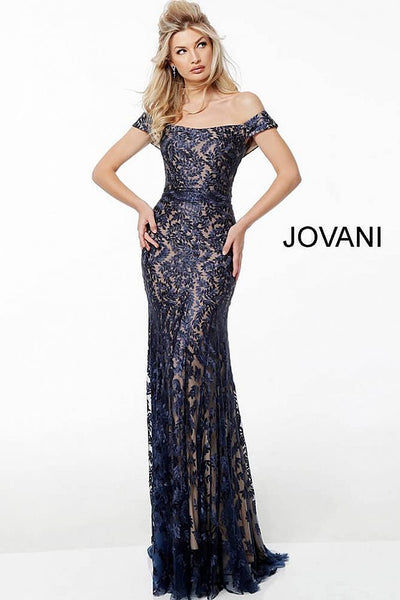 Navy off the Shoulder Lace Evening Jovani Dress 49634 - Elbisny